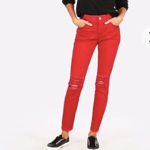 NWT Express Stretch Red Ripped Ankle Jeans